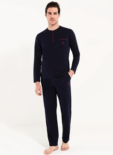 U.S. Polo Assn. Patlı Pijama Takım Lacivert